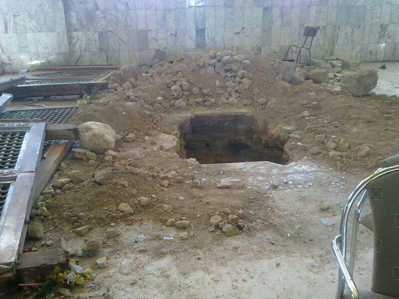 The desecrated grave after the destruction. Courtesy aimislam.com